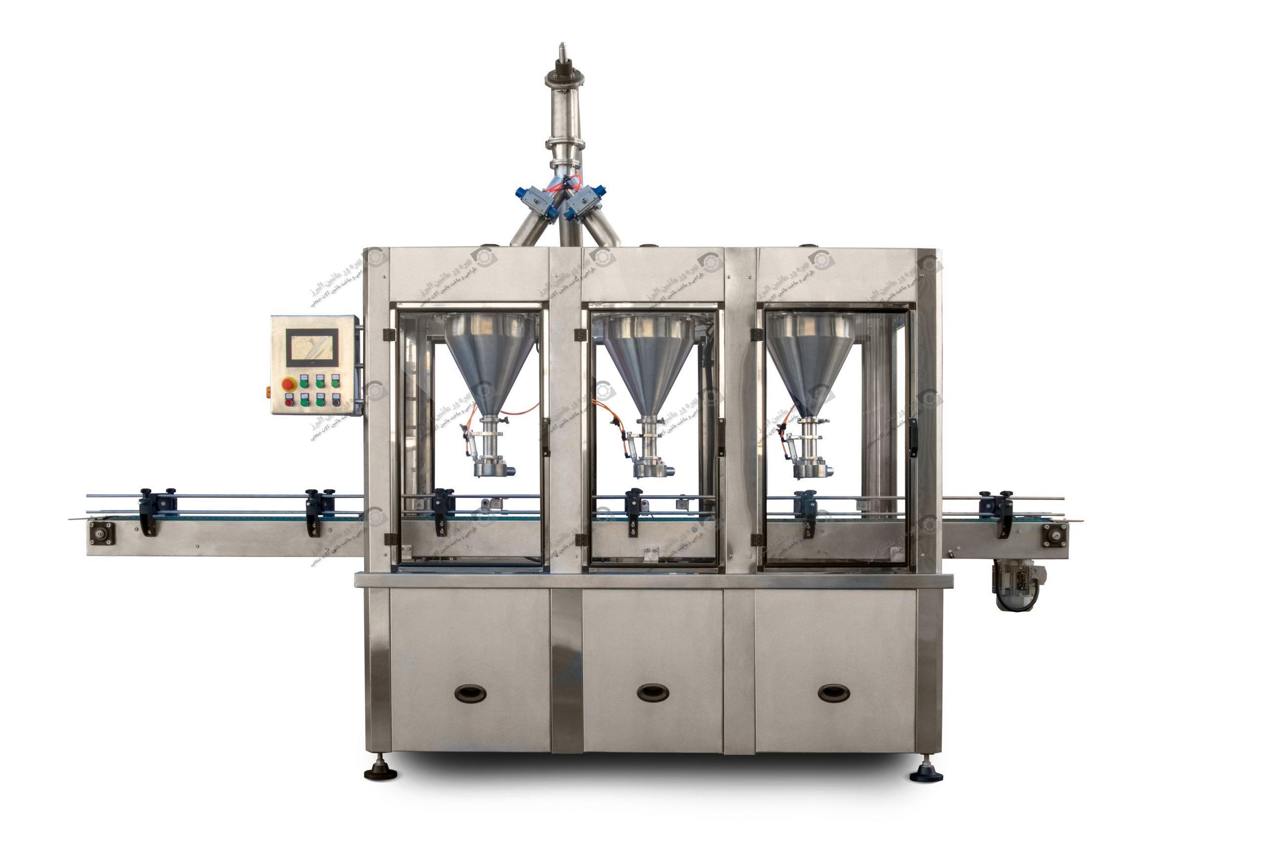 این دستگاه برای پر کردن اتوماتیک پودر یا مواد گرانولی در داخل قوطی یا کیسه به کار می رود